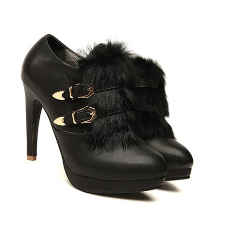Casual High Heel Solid Color Belts and Imitated Fur Design Women's Boots - BLACK 38