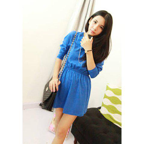 Casual Scoop Neck Long Sleeves Solid Color All-Match Good Quality Cotton Blend Women's Dress - BLUE ONE SIZE