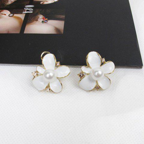 Exquisite Sweet Style Faux Pearl Embellished Flower Shape Women's Stud Earrings