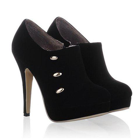 Party Laconic High Heel and Solid Color Design Women's Ankle Boots - BLACK 36