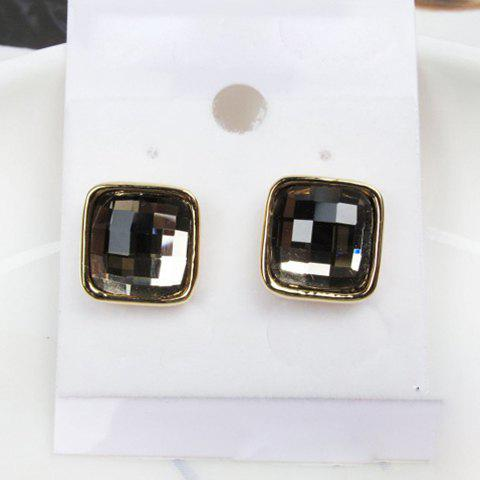 Exquisite Elegant Style Rhinestone Embellished Square Shape Women's Stud Earrings - COLOR ASSORTED