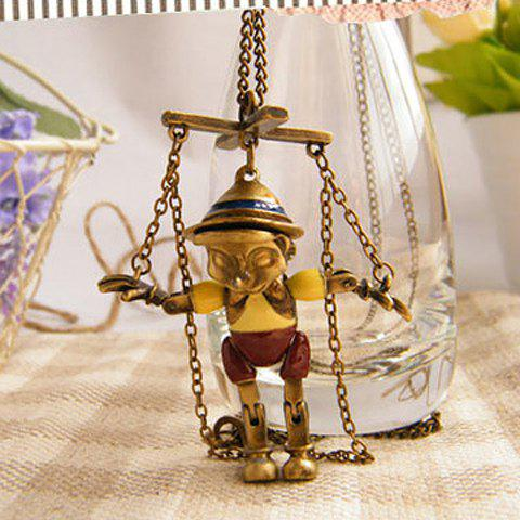 Retro Style Puppet Shape Pendant Sweater Chain Necklace - AS THE PICTURE