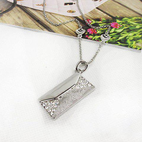 Chic Sweet Style Rhinestoned Letter Shape Embellished Women's Necklace - AS THE PICTURE