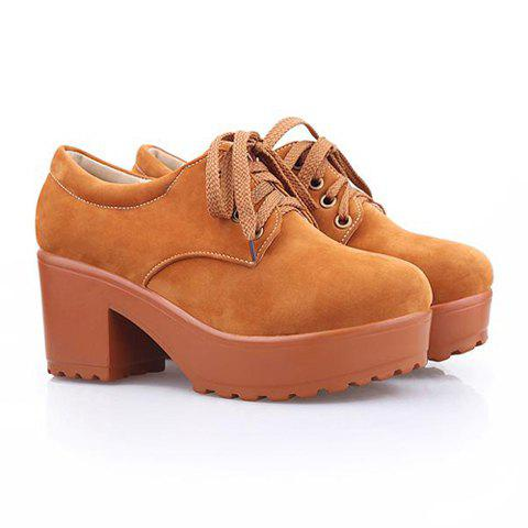 Casual Preppy Style Laconic Solid Color and Platform Heel Design Women's Ankle Boots - BROWN 37
