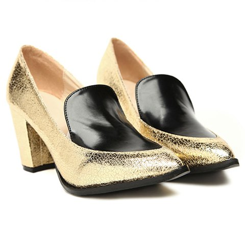 Stylish Career Splicing Chunky Heel and Sparkling Glitter Design Women's Pumps - GOLD 36