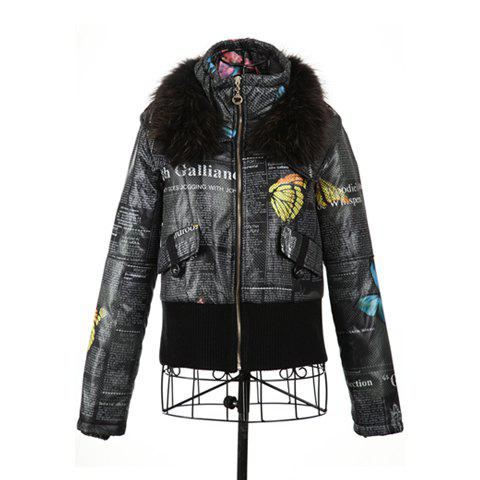 Street Style Polo Neck Furry Collar Long Sleeves Butterfly And Letter Print Colorful Fitted Cotton Blend Women's Padded Coat - BLACK ONE SIZE