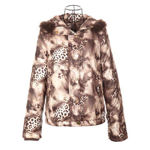 Retro Style Hooded Long Sleeves Leopard Pattern Charming Cotton Blend Women's Short Coat - BROWN ONE SIZE