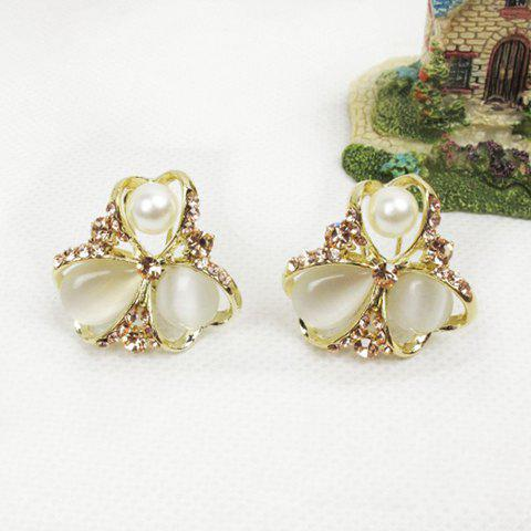 Flower Shape Embellished Rhinestoned Stud Earrings - AS THE PICTURE