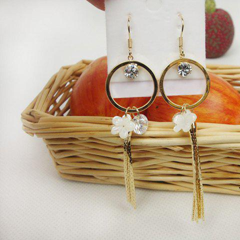 Pair of Exquisite Sweet Style Rhinestone Decorated Tassel Flower Shape Women's Earrings - AS THE PICTURE