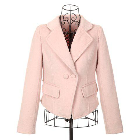 Sweet Lapel Two Buttons Long Sleeves Slimming Cotton Blend Pink Women's Short Coat
