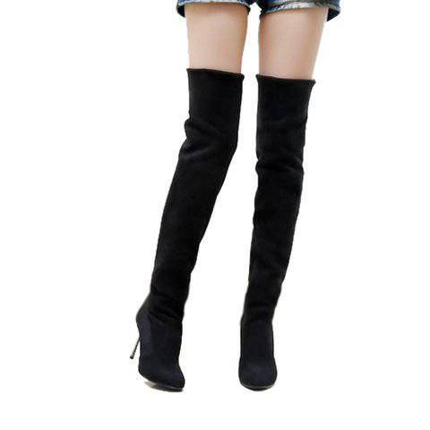 Laconic Casual Round Head Solid Color and High Heel Design Women's Boots - BLACK 38