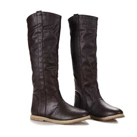 Casual Laconic Vintage Solid Color Round Toe Design Women's Knee Boots - BROWN 37