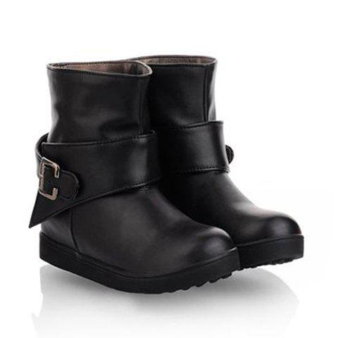Preppy Style Casual Solid Color Splicing and Buckle Design Women's Short Boots - BLACK 37