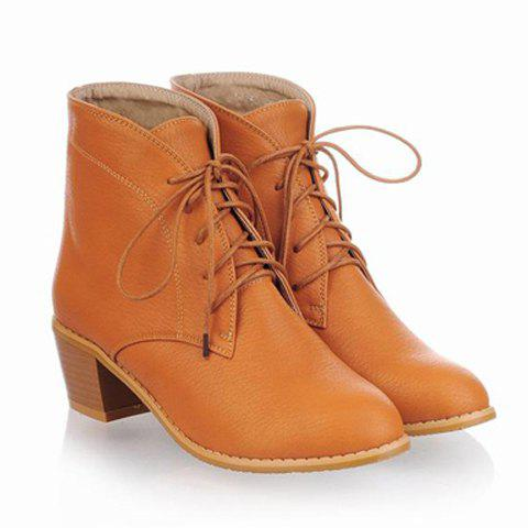 Casual Vintage British Style Lace Up Pointed Toe Design Women's Boots - YELLOW 39