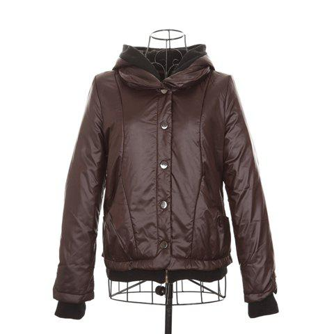 Casual Hooded Long Sleeves Warm And Thicken Attractive Black Cotton Blend Women's Padded Jacket - DEEP BROWN ONE SIZE