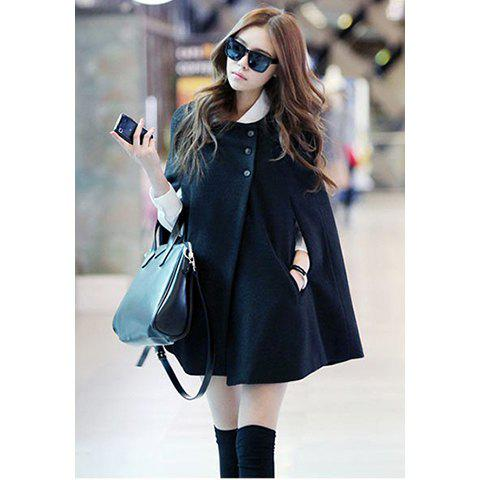 Modern style solid color cloak design imitated worsted women s coat