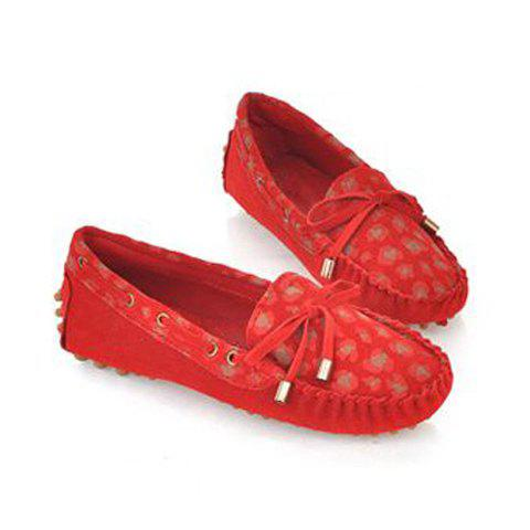 Casual Trendy Suede Bowknot and Pleated Design Women's Flat Shoes - RED 37