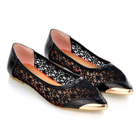 Casual PU Leather Splicing and Openwork Design Women's Flat Shoes - BLACK 36