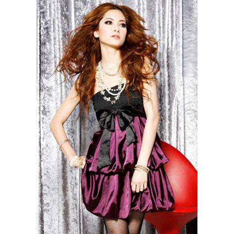 Waist Bowknot Embellished Double Lantern Hem Design Satin Formal Dress