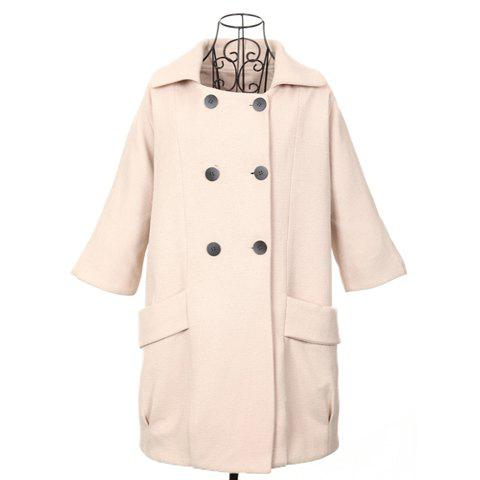 Vintage Style Polo Neck 3/4 Sleeves Double Breasted Loose Fit Woolen Blend Women's Coat - APRICOT ONE SIZE