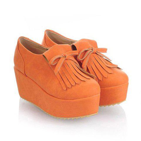 Stylish Casual PU Leather Tassels and Bowknot Design Women's Platform Shoes - ORANGE 38