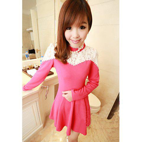 Charming Scoop Neck Long Sleeves Solid Color Pearl Embellished Women's Lace Splicing Dress - ROSE ONE SIZE