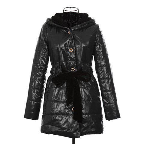 Trendy Lace Up Long Sleeve Blue Hooded Women's Quilted Coat - BLACK ONE SIZE