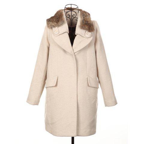 Modern Style Fur Lapel Embellished Long Sleeve Worsted Women's Long Coat - APRICOT ONE SIZE