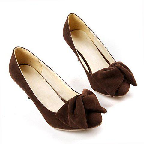 Work Suede High Heel Bowknot Design Women's Pumps - KHAKI 37