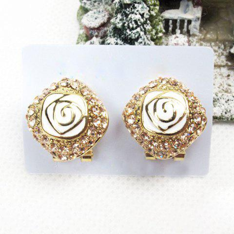 Pair of Gorgeous Exquisite Style Rose Flower Shape Rhinestone Decorated Women's Earrings - AS THE PICTURE