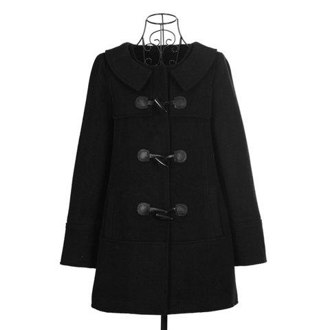 Elegant Style Scoop Neck Horn Buttons Long Sleeve Wool Worsted Women's Coat - BLACK ONE SIZE