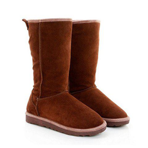 Stylish Casual Stitching and Bowknot Design Women's Snow Boots - CHOCOLATE 37