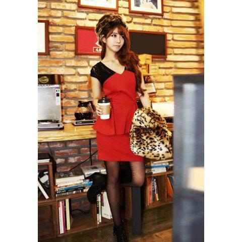 Stylish Style V-Neck Lace Opwecwork Splicing and Flounce Design Women's Dress - RED ONE SIZE