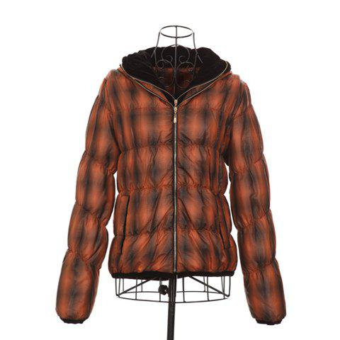 Preppy Style Hooded Zipper Design Orange Checked Embellished Long Sleeves Polyester Women's Short Coat - ORANGE ONE SIZE