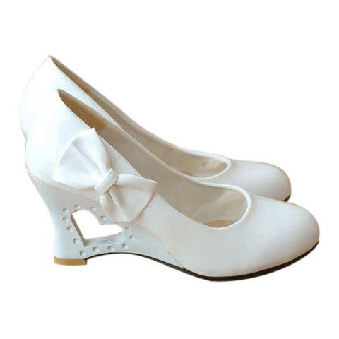 Casual Solid Color Openwork Bow Design Women's Wedge Shoes - 34 WHITE