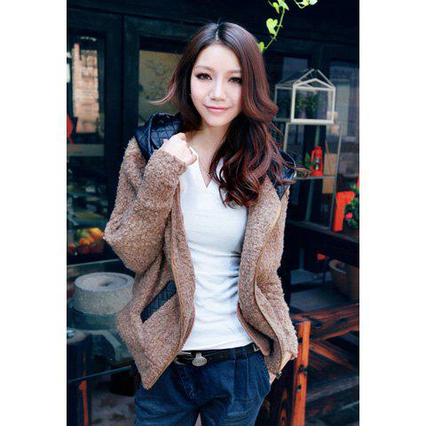 Casual Hooded Solid Color Splicing Design Batwing Worsted Women's Coat - DARK KHAKI ONE SIZE