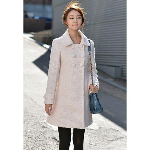 Laconic Polo Neck Double Breasted Solid Color Long Sleeve Slimming Woolen Blend Women's Overcoat - AS THE PICTURE L