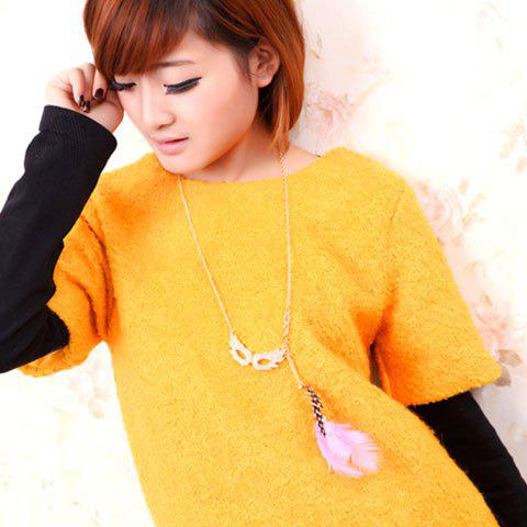 Feather Embellished Rhinestoned Mask Shape Pendant Sweater Chain Necklace - AS THE PICTURE