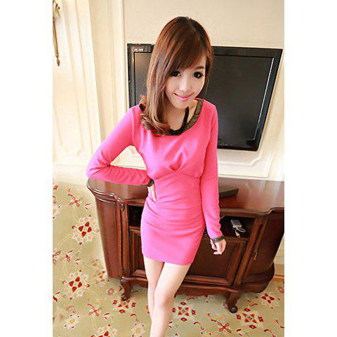 Stylish Style Scoop Neck Long Sleeves Golden Edge Splicing Design Women's Dress - ONE SIZE ROSE