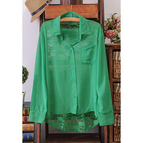 Casual Style Solid Color Lace Splicing Long Sleeve Chiffon Women's Shirt - GREEN S