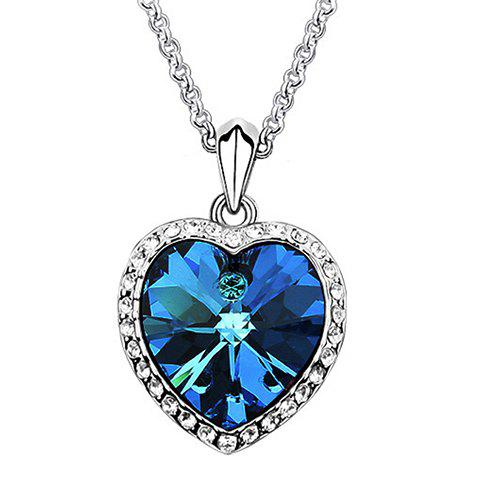 Sweet Graceful Rhinestone Embellished Heart Shape Women's Necklace - BLUE