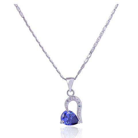 Gorgeous Elegant Style Rhinestone Embellished Heart Shape Women's Necklace - BLUE