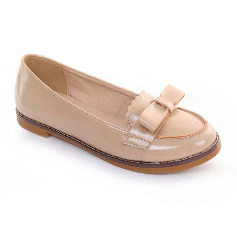 Casual Stylish PU Leather Bow and Stitching Design Women's Flat Shoes - APRICOT 36