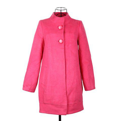 Gorgeous Polo Neck Faux Fur Collar Long Sleeves Solid Color Woolen Blend Women's Coat - PEACH RED ONE SIZE