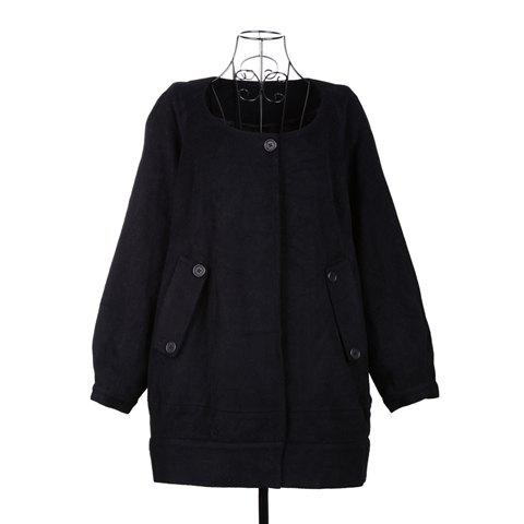 Casual Style Black Color Scoop Neck Long Sleeve Worsted Women's Coat - BLACK ONE SIZE
