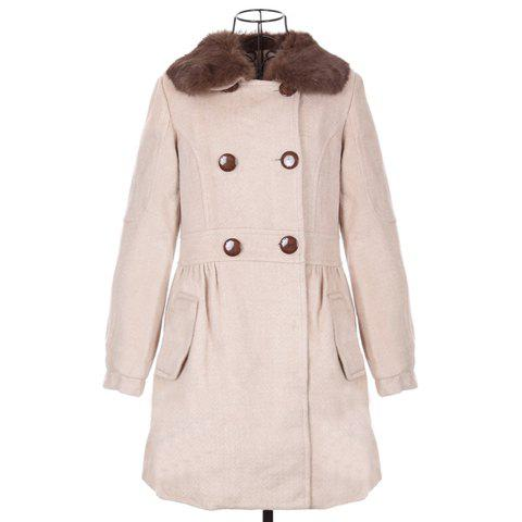 Casual Polo Neck Faux Fur Collar Long Sleeves Double Breasted Big Hem Woolen Blend Women's Coat - LIGHT PINK ONE SIZE