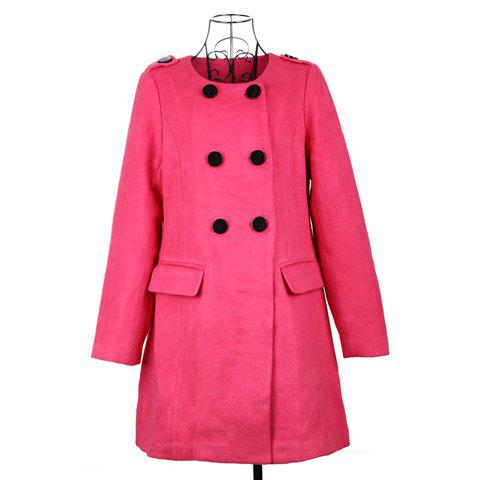 Trendy Round Neck Double-Breasted Rose Woolen Fabric Women's Coat - ROSE ONE SIZE
