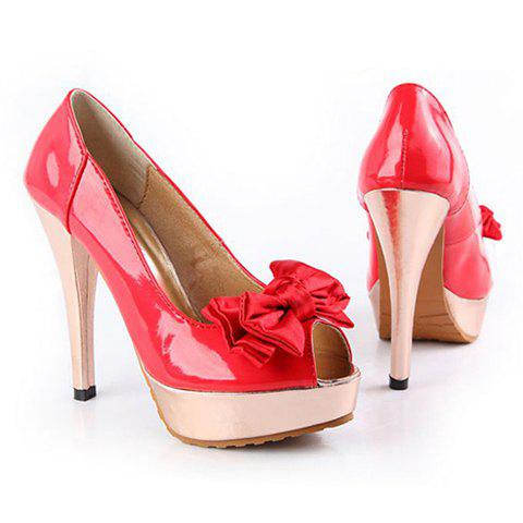 Party Patent Leather Bow and Stiletto Heel Design Women's Peep Toes Shoes - RED 38