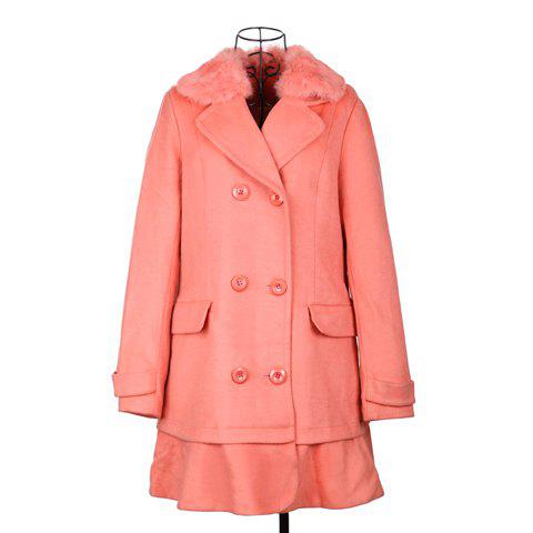 Ladylike Lapel Double-Breasted Flounced Long Sleeved Worsted Women's Coat - ONE SIZE WATERMELON RED
