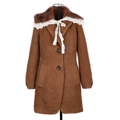 Modern Style Fur Collar Embellished Long Sleeve Worsted Women's Coat - COFFEE ONE SIZE